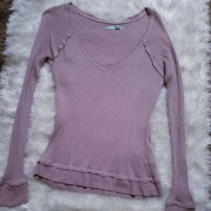 Vee Neck Thermal Henley Muted Lavender